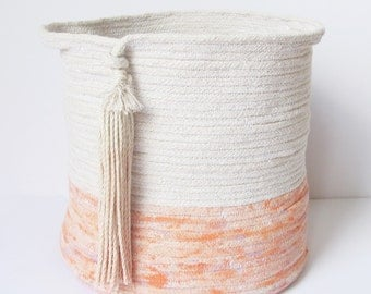 Coiled Rope Storage Bin with Tassel, Ombre Tassel, Rope Basket, Boho Decor, Housewarming Gift, Tassel Basket // Coral, Neon, Pink, Peach