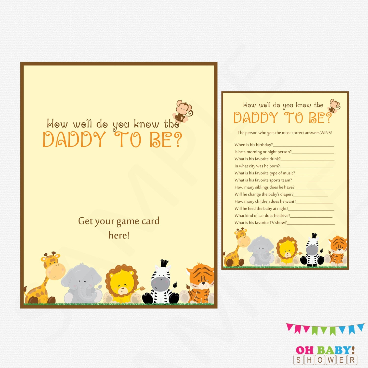 Safari Baby Shower Games How Well Do You Know The DADDY To
