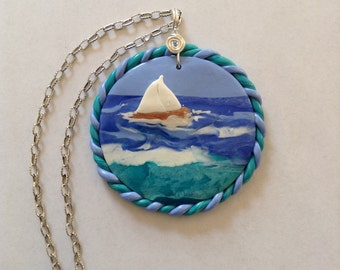 Seascape in polymer clay