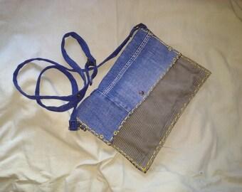 Handmade corduroy and denim clutch bag recycled tissue