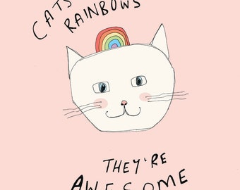 cat illustration, kids art print, kids poster, illustration, art print, typography print // Cats are like Rainbows