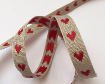 Red Woven Hearts Linen Ribbon - 3m reel