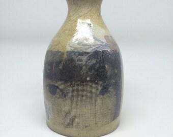 Raku vase, smoke fired, gift, handmade, screen print, Japanese style, decal, ceramic