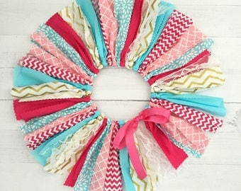 Pink, Blue/Turquoise and Gold Fabric Tutu, Baby Girl, Birthday Outfit, Scrap Skirt
