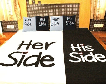 His Side & Her Side Hand Designed Bed Cover Queen Size Bed Sheet Suzani Embroidered Bed Speared with Pillow Cover