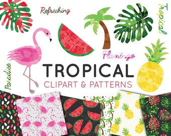 Tropical Clipart Set, Flamingo clipart, Watermelon clipart, Seamless Patterns, Digital Paper, Summer clipart, Pineapple, Commercial Use