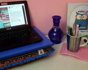 Fancy Lap desk, lapdesk, cushion tray, laptop desk, lap desk, Formica lap desk, Blue, ready to ship, pompom cushion desk, bohemian, bed tray
