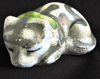 Rare Early 1900s Carnival Chalkware Sleeping Gold Cat