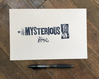 mysterious letterpress print