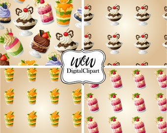 Sweets Dessert Clipart paper, Cupcakes Clipart, Bakery Clipart, Digital Clipart, Scrapbooking, Digital paper, cupcake illustration 0036