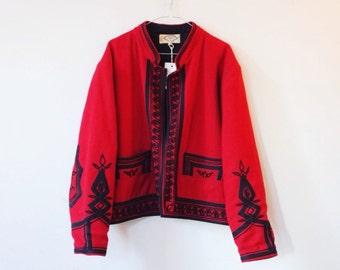 Burgundy Solola Vintage guatemala jacket M/L