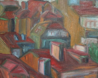 European vintage oil painting cubist cityscape