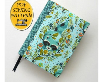 A5 Journal cover pattern, Notebook cover sewing pattern, Book cover tutorial. Book jacket, PDF download