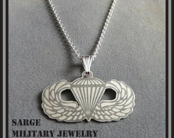 Army Airborne Pendant, Silver Army Airborne Necklace,  Airborne Jewelry, Paratrooper Pendant, Army Airborne Logo Necklace, Military Jewelry