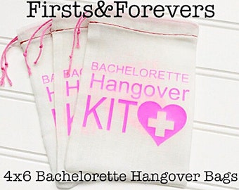4x6 Bachelorette Hangover Kit Bag With Pink Heart Cross