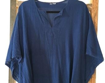 Vintage Indigo Blue Full Length Bohemian Kaftan