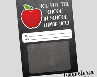 Chool in School Teacher Appreciation Printable Gift Card Holder INSTANT DOWNLOAD