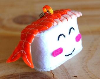 Keychain made with felt, shrimp sushi, kawaii