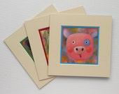 Three Animals Portraits, Piggy, Cat, Panda, Print, Printed, Paper Mount Frame, Set of three, MikiMayo