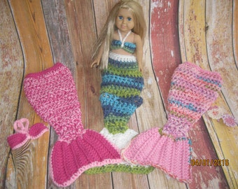 """Crocheted Mermaid Tail and bikini top for 18"""" dolls, with the American Girl doll in mind."""