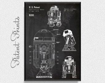Star Wars R2D2 Patent Print, Star Wars Poster, Star Wars Patent, Star Wars Blueprint, Star Wars Print, Star Wars Art