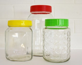 Vintage Storage Canisters - Glass Jars - Set of 3