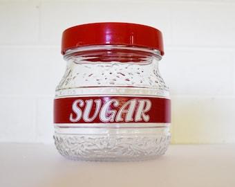 Vintage Storage Canister - Italian Glass Jar - Retro Pantry - 1960's Era