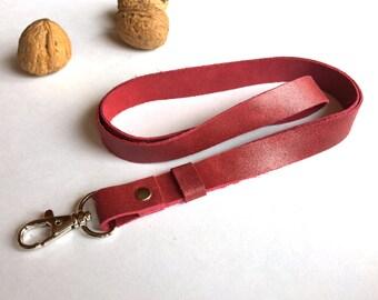 Leather lanyard raspberry color, leather lanyard keychain, key lanyard, cute lanyard