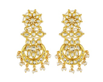 Alyza Pearls kundan hanging earings with pearls