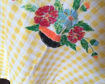 CLEARANCE  Fill a box - one shipping cost.Hand painted yellow gingham round table cloth