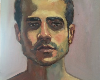 Male figurative Portrait Painting, Oil painting on Canvas, allaprima portraiture, male art original portrait oil painting one of a kind