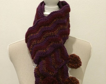 Zigzag scarf with pom poms-zigzag Scarf with PomPoms