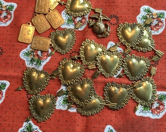 Old lot vintage brass stamped hearts and other vintage stampings