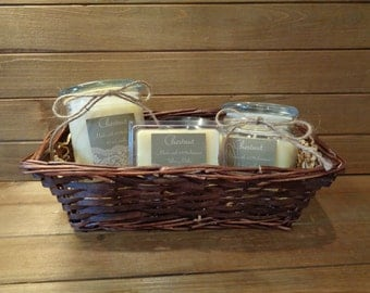 Scented pure beeswax candle gift baskets