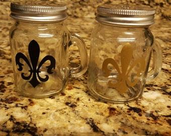 Southern mason jar style Fleur de lis salt and pepper shakers