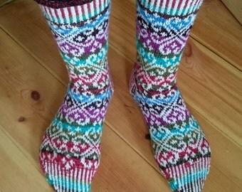 Pattern socks fair Isle style