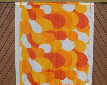 "Scandinavian Vintage Fabric Made in Finland by MARIMEKKO Oy Suomi Finland design Maija Isola ""VILLIKAALI"" Curtain Retro Fabric Textile, 1967"