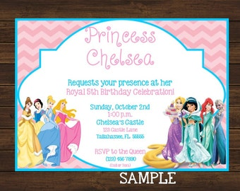 Disney Princess Birthday Invitation, Printable, Pink and Blue, Swim Party