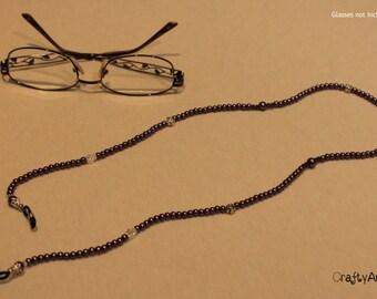 Beaded glasses chain - purple