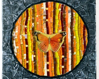 Stained glass mosaic art, Mosaic picture, Wall art, Mosaic art, Mixed media, Mosaic glass picture, home decoration - An Orange butterfly