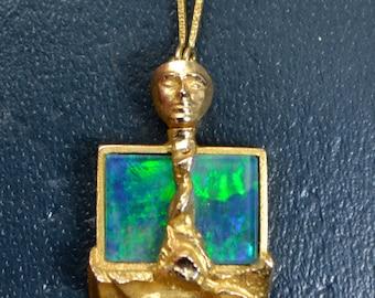 1980 14k Gold & Opal LAPPONIA Björn Weckström FIGURAL Modernist Unusual NECKLACE