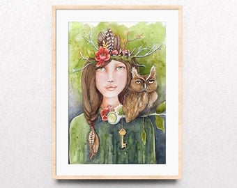 Woodland Watercolor Print, Forest Owl Art Print, Forest Guide Art Print, Forest Friends Art Print, Giclee Watercolor Print, Dorm Wall Art