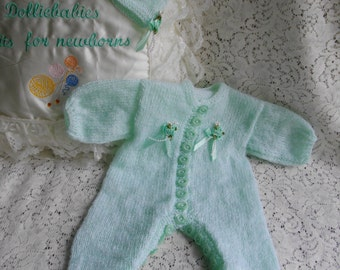"3-4lb Baby or 16-17"" Reborn Dolls Hand Knitted All In One Romper Suit"
