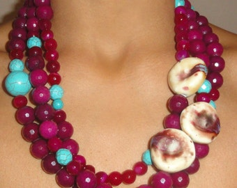 Raspberry and Turquoise Necklace