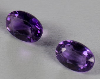 Natural Deep Purple Amethyst, Matching Pair, Oval Mixed Cut, 0.85ct Total Weight