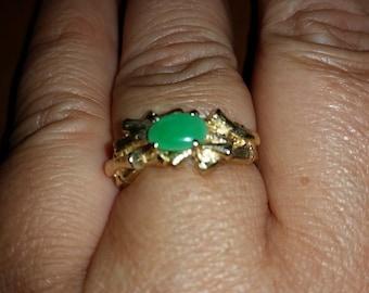 Vintage Gold Jade Ring, Size 8 1/2