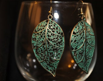 Teal Metal Leaf Earrings