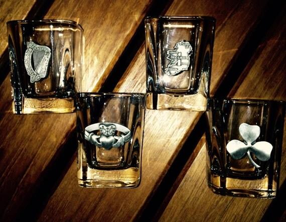 Christmas sale 15% off, Vintage Irish Wedding glass Irish/Celtic Shot Glasses.