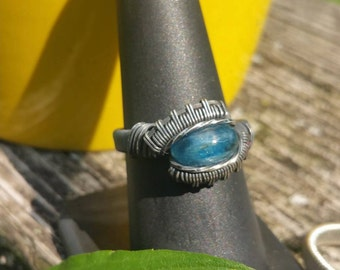 Blue Kyanite Wire Wrapped Ring