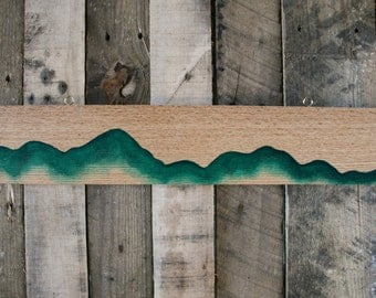 Green Mountain Painting on Oak